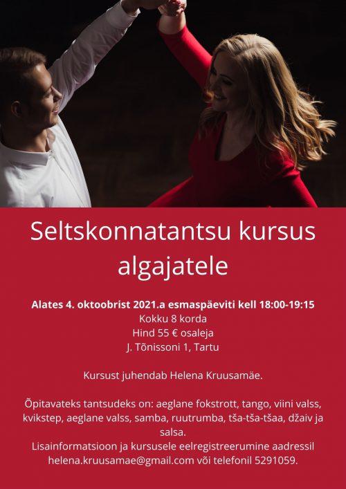 Seltskonnatantsu kursus algajatele 4. oktoober 2021 plakat